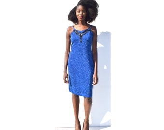 Shimmery sapphire knit dress with jet beading 1980s 80s VINTAGE