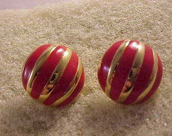 Gold and Red Enamel Clip On Earrings