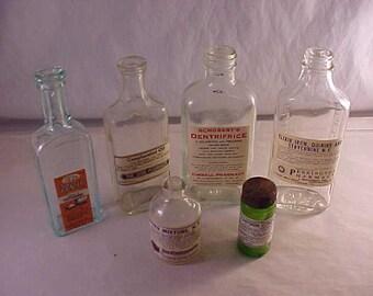 Vintage Glass Medicine Bottles with Vintage Pharmacy Labels Applied