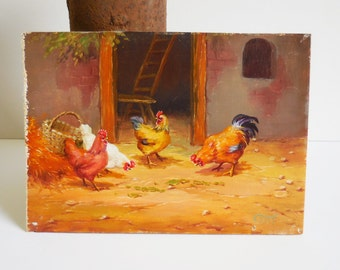 Vintage Original Painting  Rooster Chickens in Farmyard  Rustic barn miniature oil Art Farmhouse Country