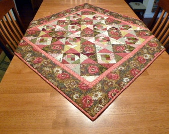 """Pink scrap """"Gone Crazy """"quilt wallhanging or table topper"""