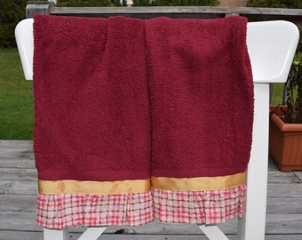 Pink and Brown Plaid with Gold Trim on Maroon Towels set of 2 kitchen tea dish hand guest towel