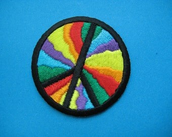 Iron-on Embroidered Patch Rainbow PEACE 2 inch