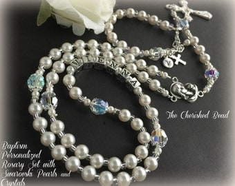 Catholic Baptism Personalized Rosary Set with Swarovski Crystals, Pearls and Sterling Silver