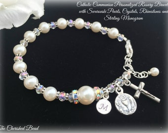 Beautiful Traditional Communion Personalized Rosary Bracelet with White Swarovski Pearls, Crystals & Rhinestones and Sterling Initial Charm
