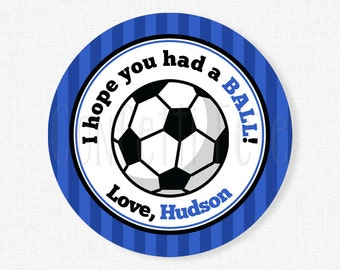 Soccer Favor Tags, Soccer Birthday Party Favors, Hope You Had a Ball Tag, Soccer Ball Tag, Boy Soccer Tag, Personalized