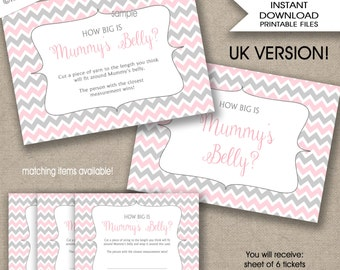 How big is mummy's belly baby shower game, INSTANT DOWNLOAD, measure mum's bump game, pink grey chevron girl, UK Version, British, English