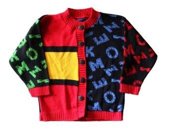Vintage 80s ABC Alphabet Color Block Sweater - Black Primary Colors, Kids Size 5