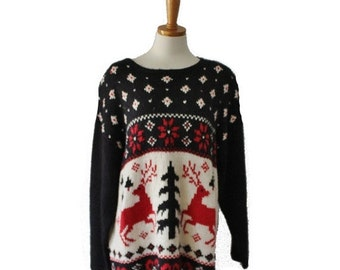 sale // Vintage 80s Nordic Reindeer Sweater - Busy Design - Women 2XL - ugly Christmas, black red