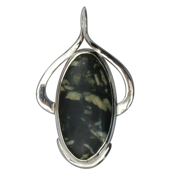 Chinese Writing Stone  and Sterling Silver Pendant  pcwsf2682