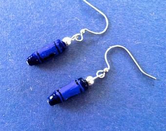 Unique Teacher Gift Dangly Blue Crayon Earrings