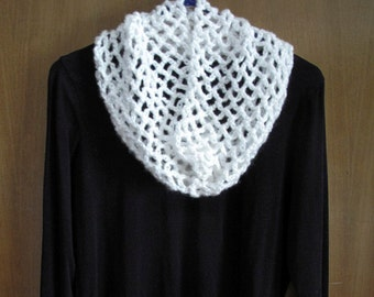 White Crocheted Cowl Neck Warmer