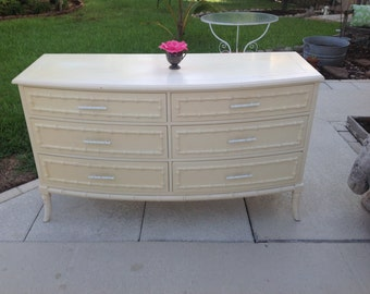 FAUX BAMBOO DRESSER / Regency Style Faux Bamboo Credenza / Faux Bamboo Server Island Style Dresser Faux bamboo hardware at Retro Daisy Girl