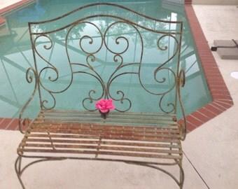 VINTAGE IRON GARDEN BENCh Antique Iron Scroll Garden Bench Metal Sage Green  Romantic Homes Style Garden