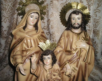 Divine Vintage Holy Family Religious Devotional Crowned/Risa's Glass Eyed Statue Holy Spanish Colonial Icon.