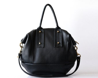 Large leather handbag Opelle Vanda bag in soft Pebbled Leather