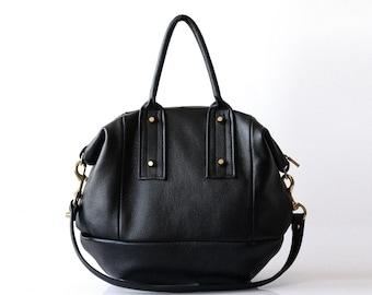 Large leather handbag Opelle Vanda bag in soft Pebbled Leather
