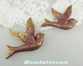 4pcs - (40x40mm) Pretty Gold Swallow Bird Cabochon - Purple with Gold