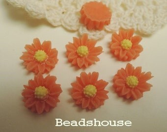 Sale: 625-00-CA  6pcs (10mm) Pretty Chrysanthemum Cabochon - Coral