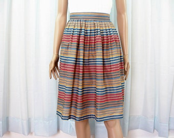 Vintage 1980s Striped Skirt High Waist Loose Pleat Colorful Cotton Skirt / XXSmall