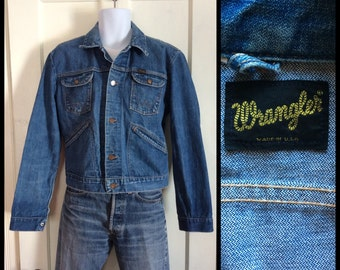 Vintage 1970's Wrangler Blue Jean Denim Jacket looks size Large selvedge 4 pocket