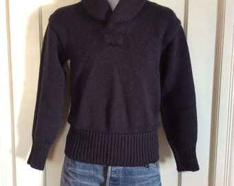 Vintage 1920's 1930's thick high Shawl Collar Navy Blue Pullover Sweater looks size Small as-is Low Gauge knit long cuffs