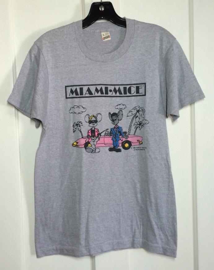 Vintage 1980 39 s 1985 miami mice humor miami vice tv show t for Miami t shirt printing