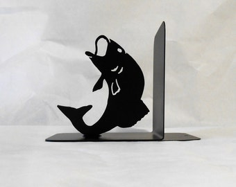 Fish Silhouette Single Metal Art Bookend