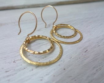 Double Circle Vermeil Earrings, Brushed Vermeil Circle, Hammered Vermeil Circles, Vermeil Hoop Earrings, 14K Gold Filled Rounded Ear Wires