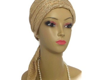 "Scarf Turban: Shimmering Metallic Vegas Gold Chemo Headwear With 14"" Ties With Or Without Matching Daisy Pin -machine Washable"