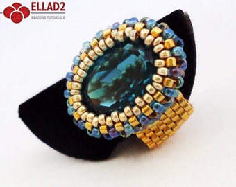 Tutorial Indicolite Oval Ring - Bead pattern