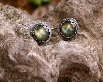 Labradorite Sterling Silver Oxidized Boho Gypsy Southwestern Texas Dangle Silversmith Earrings