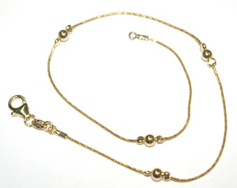 14kt 1/20 Gold Filled 0.8mm Chain and 4mm Beads Beaded ANKLET - Handmade - Custom made to your size - BalliSilver - Free Shipping Worldwide