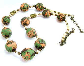 Polymer Clay Jewelry, Beaded Necklace, Peach Olive and Dk Brown Bead Necklace, For Her, Rustic Artisan Necklace, Handmade Boho Necklace