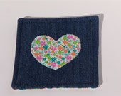 Denim coaster - flower heart