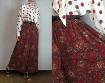 80s DAMASK MICRO ACCORDION Pleated vtg Merlot Wine Red Ladybug Gold Ecru Paisley Wide Leg Palazzo Pants Small Medium 1980s