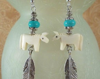 Cowgirl Earrings - Southwest Style Carved Ox Bone Horse Fetish Beads and Tibetan Silver Feathers