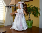 18 Inch Doll White Satin Bridal Dress, Lace Train and Floral Headband Hair Piece by SEWSWEETDAISY
