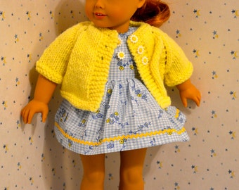 18 Inch Doll Seersucker Sleeveless Blue and White Print Dress, Matching Panties and Yellow Cardigan Sweater by SEWSWEETDAISY