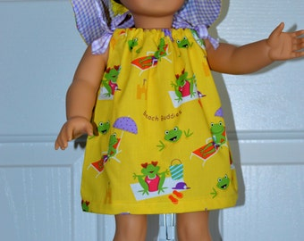 SALE - 18 Inch Doll Bright Yellow Print Pillowcase Beach Dress and Matching Floppy Brimmed Hat by SEWSWEETDAISY