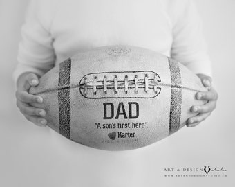 Dad A Son's First Hero Print, Custom Dad Gifts, Personalized Gifts for Dad, Football Sport Art, Sports Gift from Son, Football Fan Gift, Art