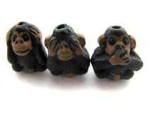 21 Tiny See No Evil Monkey Beads, Animal, Ceramic, Peruvian, jungle, wildlife, zoo - CB958