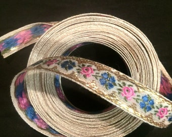 French Jacquard Ribbon - Vintage 1960s - Devine floral Jacquard 5- Abstract yet Traditional Millifori Design 5 or 10 yards