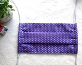 Organic Surgical Mask/ Adult Size/ Washable Cloth Surgical Mask/ Anti-Dusk Mask/ Cotton Medical Face Mask/ White Polka Dots in Purple