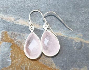 Rose Quartz Earrings, Gemstone Earrings, Pink Earrings, Sterling Silver Earrings, Modern Earrings, Rose Quartz Jewelry, Teardrop Earrings