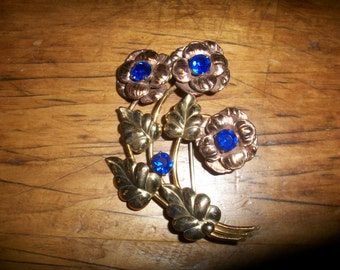 Flower Bouquet with Blue Stones--Sterling -1/20th  12CT Gold Filled