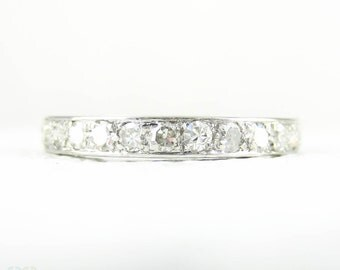 Antique Diamond & Platinum Eternity Ring, Hand Engraved Full Hoop Diamond Set Wedding Ring, 0.75 ctw. Circa 1900s, Size O / 7.25.