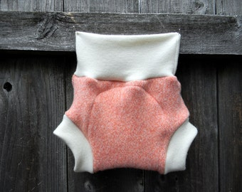 Upcycled Wool And Organic Merino Wool Interlock Soaker Cover Diaper Cover With Added Doubler Coral  SMALL 3-6M Kidsgogreen