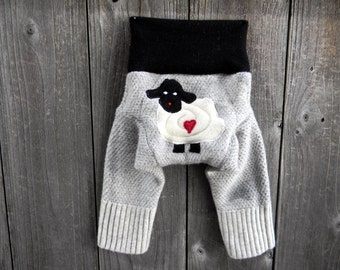 NEWBORN Upcycled Wool Longies Soaker Cover Diaper Cover With Added Doubler Light Gray /Black With Baa Baa Sheep Applique NB 0-3M