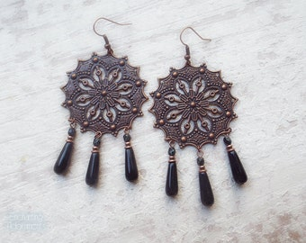 GYPSY .:. Bohemian Style Aged Copper earrings with black czech  // picasso glass